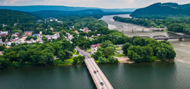 Aerial shot of Easton
